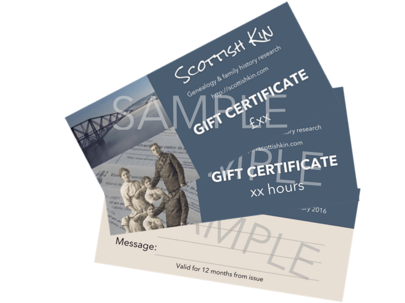 Image of Scottish Kin sample gift certificates