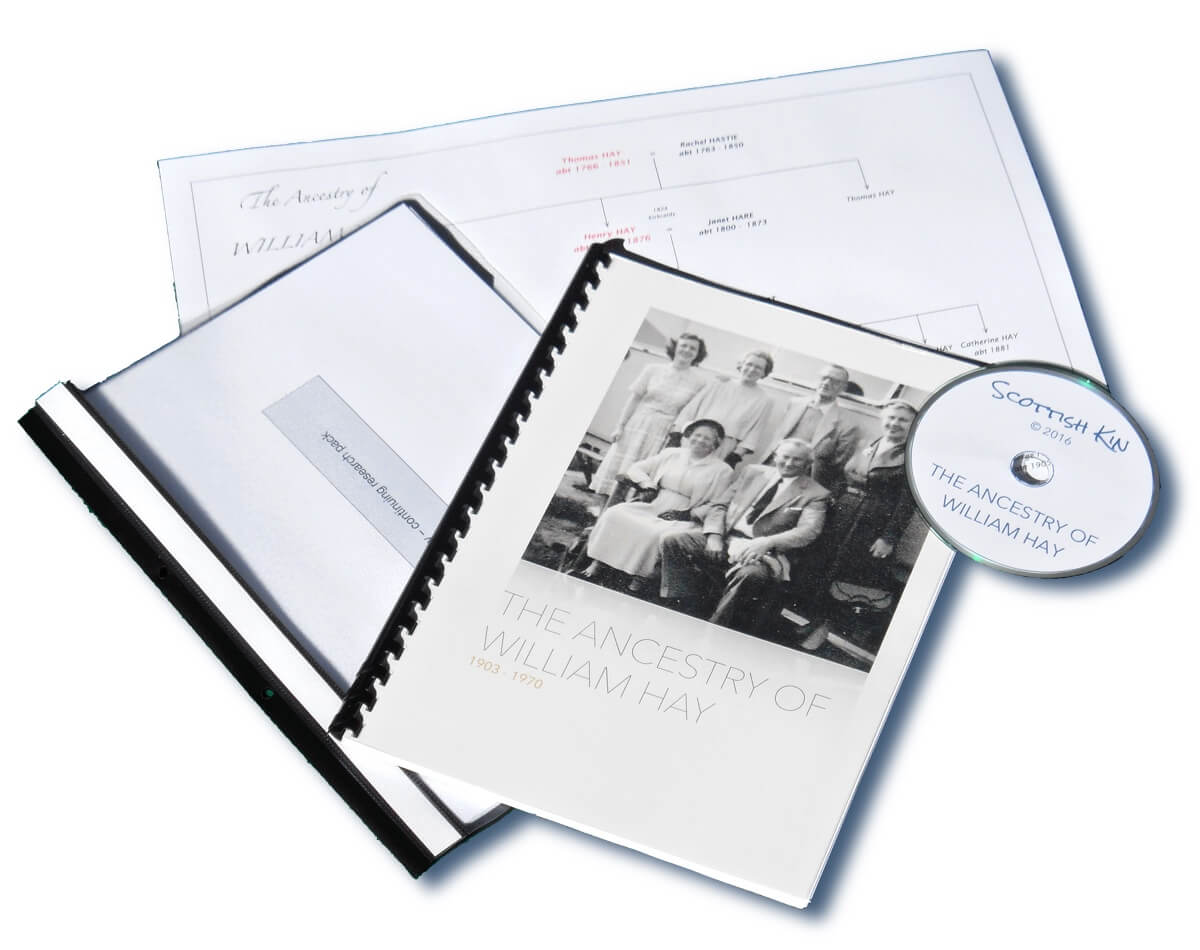 Image of family history report with chart and DVD
