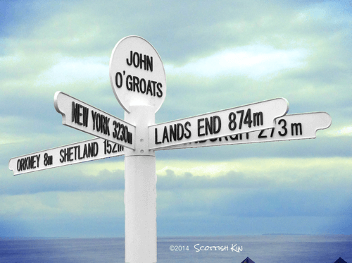 Image of signpost at John O'Groats representing how Scots migrated