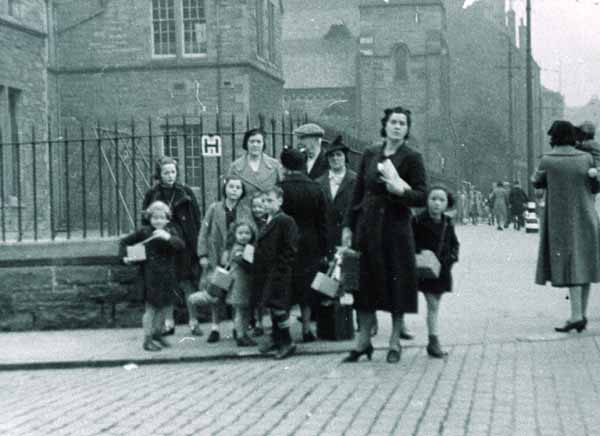 Image of group waiting for evacuation outside Dalry School on September 1 1939