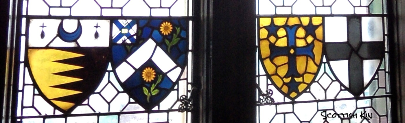 Image of heraldic shields in Edinburgh Castle's stained glass windows