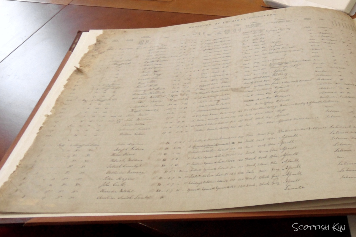 Image of old register in archive